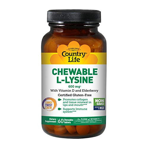 Country Life Chewable L-Lysine 600mg - 60 Chewable Tabs - Supports Immune Health - Supports Natural Collagen Production - Vitamin D - Elderberry - Great Taste