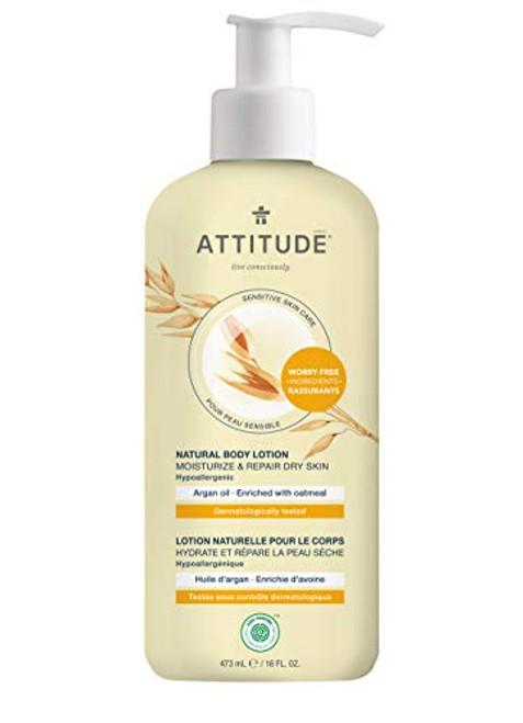 ATTITUDE Moisturizing Body Lotion for Dry & Sensitive Skin, EWG Verified, Dermatologist-tested & Hypoallergenic, Vegan & Cruelty-free Body Moisturizer, Argan Oil, 16 Fl. Oz.