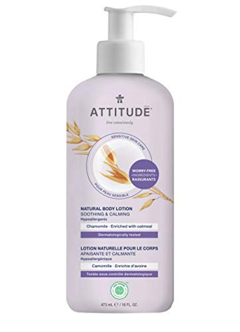 ATTITUDE Soothing Body Lotion for Dry & Sensitive Skin, With Oatmeal, EWG Verified, Dermatologist-tested & Hypoallergenic, Vegan & Cruelty-free Body Moisturizer, Chamomile, 16 Fl. Oz.