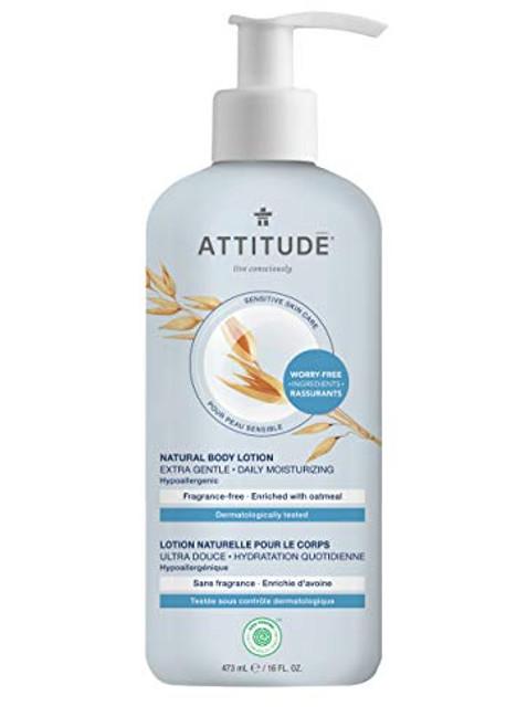 ATTITUDE Unscented Body Lotion for Dry & Sensitive Skin, EWG Verified, Dermatologist-tested & Hypoallergenic, Vegan & Cruelty-free Body Moisturizer, Fragrance Free, 16 Fl. Oz.