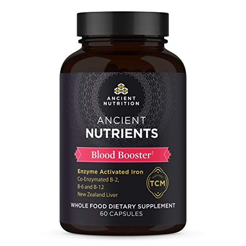 Ancient Nutrition, Ancient Nutrients Blood Booster - Co-enzymated B-2, B-6, and B-12, Adaptogenic Herbs, Paleo & Keto Friendly, 60 Capsules…