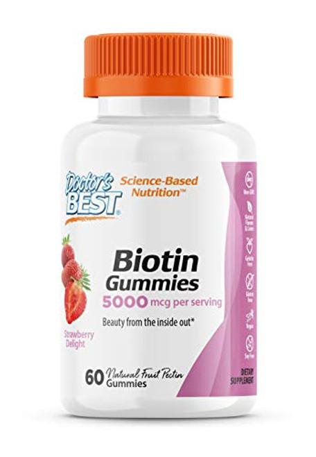 Doctor's Best High Potency Biotin Gummies, 5000 mcgper Serving, 60 Ct, Chewable Beauty Supplement for Healthy Hair, Skin & Nails, Non-GMO, Natural Fruit Pectin, Vegan