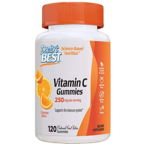 Doctor's Best, Vitamin C Gummies 250mg per Serving Great Tasting Immune Brain Eyes Heart Circulation Antioxidant Support Natural Pectin Vegan Gluten Free CT, Fruit, 120 Count