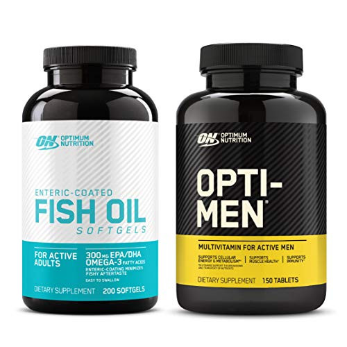Optimum Nutrition Omega 3 Fish Oil, 300MG, Brain Support Supplement (200 Softgels) with Opti-Men, Mens Daily Multivitamin Supplement (150 Count) - Bundle Pack