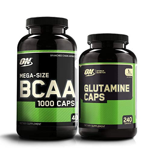 Optimum Nutrition Instantized BCAA Capsules, Keto Friendly Branched Chain Essential Amino Acids (400 Count) with Glutamine Muscle Recovery Capsules (240 Count) - Bundle Pack
