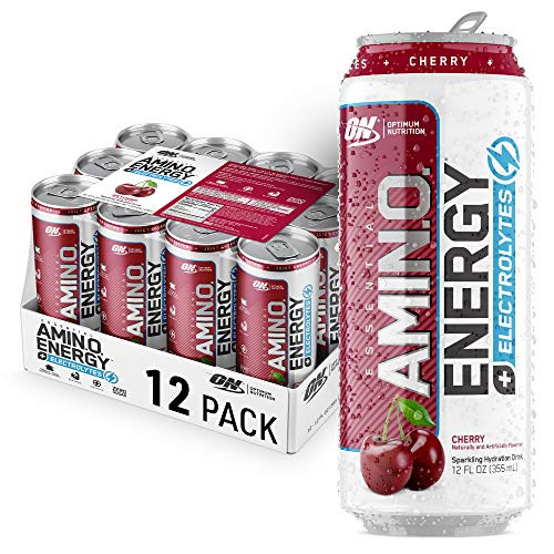 Optimum Nutrition Amino Energy + Electrolytes Sparkling Hydration Drink - Pre Workout, BCAA, Keto Friendly, Energy Drink - Juicy Cherry, 12 Count