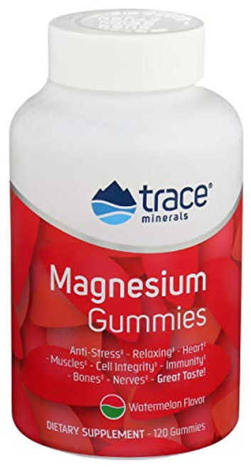 Magnesium Stress Relief Gummies (120 Ct) | Easy to Take Magnesium Citrate | Natural Calming Sleep Aid, Muscle Relaxer, Mood & Digestive Support Supplement | Great for Kids & Adults (Watermelon Flavor)