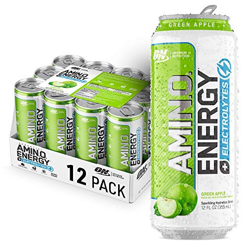Optimum Nutrition Amino Energy + Electrolytes Sparkling Hydration Drink - Pre Workout, BCAA, Keto Friendly, Energy Drink - Green Apple, 12 Count