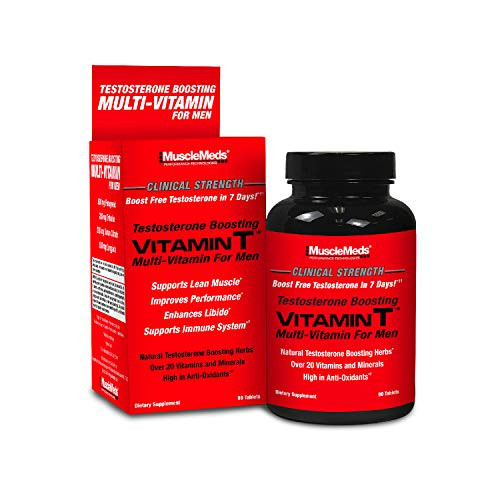 MuscleMeds Vitamin T Daily Complete Multivitamin for Men Enhances Testosterone Muscle Building Sexual Performance 20 Vitamins Minerals Fenugreek Tribulus Longjack, Brown, 90 Count