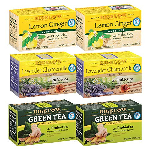 Bigelow Probiotic 3 Flavor Variety Pack Tea Bags, Caffeinated Green Tea and Caffeine Free Herbal Tea, 18 Count Box, (Pack of 6), 108 Tea Bags Total