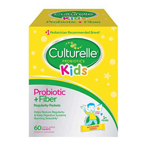 Culturelle Kids Regularity Probiotic & Fiber - Helps Restore Regularity & Keeps Kids' Digestive Systems Running Smoothly* - 60 Single Packets