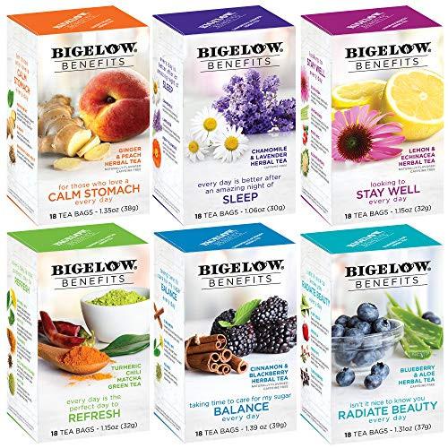 Bigelow Tea Benefits Wellness Teabag Variety Pack, Mixed Caffeinated Green Matcha & Caffeine-Free Herbal Tea, 18 Count Box (Pack of 6) 108 Tea Bags Total