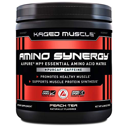 Kaged Muscle, Amino Synergy, BCAA + EAA Powder, Essential Amino Acid Supplement with Coconut Water, Peach Tea + Caffeine, 30 Servings