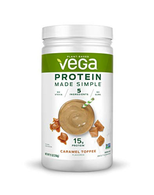 Vega Protein Made Simple - Caramel Toffee (10 Servings), 9.1 Ounce - Delicious Plant Based Healthy Vegan Protein Powder - Stevia Free, Dairy Free, Gluten Free, Non Gmo, No Gums