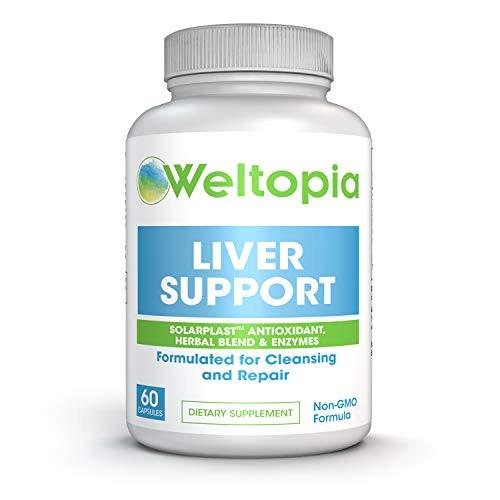 Weltopia - Liver Support for Cleanse, Detox & Regenerator - Solarplast antioxidant, Milk Thistle (Silymarin), Artichoke, Dandelion & Proteolytic Enzymes Supplement