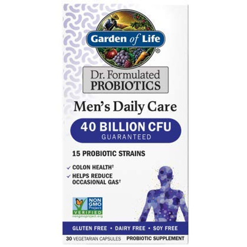 Garden of Life Dr. Formulated Probiotics Men's Daily Care 40 Billion 30 Capsules CFU 15 Strains Colon Health and Helps Reduce Occasional Gas