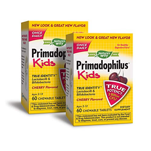Nature's Way Primadophilus Kids Once Daily 3 Billion Probiotic, Cherry Flavored, 60 Chewables, Pack of 2