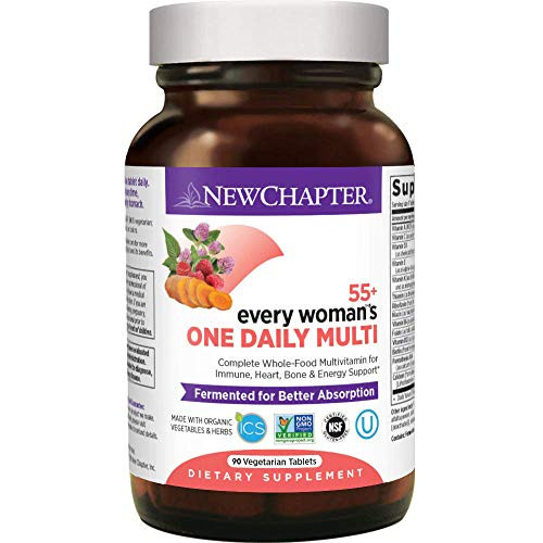 New Chapter Multivitamin for Women 50 Plus - Every Woman's One Daily 55+ with Fermented Probiotics + Whole Foods + Astaxanthin + Organic Non-GMO Ingredients - 90 ct
