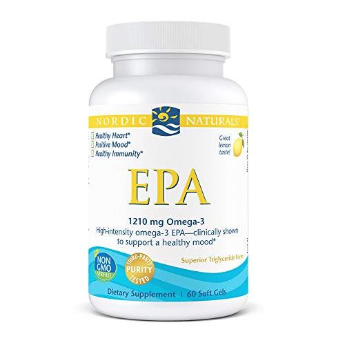 Nordic Naturals EPA, Lemon - 60 Soft Gels - 1210 mg Omega-3 - High-Intensity EPA Formula for Positive Mood, Heart Health & Healthy Immunity - Non-GMO - 30 Servings