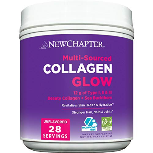 New Chapter Beauty Collagen Powder Glow, 12g Collagen Peptides (Types I, II, III), Unflavored, 28 Servings, Multi Sourced, Organic Sea Buckthorn, Hair, Skin, Nails, Hormone Free, Gluten Free