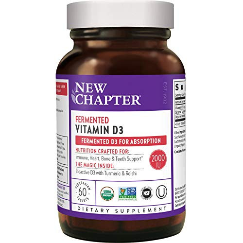 New Chapter Vitamin D3, Fermented Vitamin D3 2,000 IU, ONE Daily with Whole-Food Herbs + Adaptogenic Reishi Mushroom for Immune Support + Bone Health + Heart Health, 100% Vegan, Gluten-Free - 60 count
