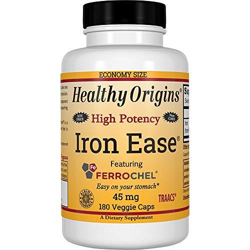 Healthy Origins Iron Ease 45 mg (Featuring Albion Ferrochel, Non-GMO, High Potency, Ferrous Bisglycinate Chelate), 180 Veggie Caps