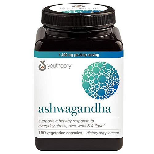 Youtheory Ashwagandha Vegetarian Capsules Net Wt 150 Count