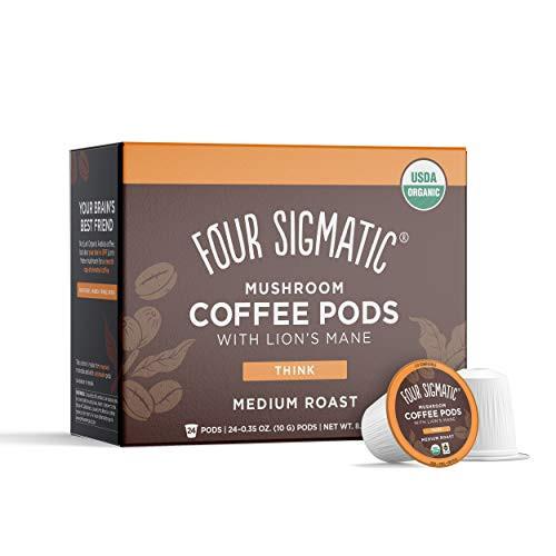 Four Sigmatic Mushroom Coffee K-Cups, Organic and Fair Trade Coffee with Lions Mane, Chaga, & Mushroom Powder, Focus & Immune Support, 24 Count