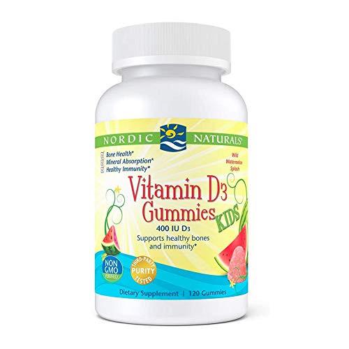 Nordic Naturals Vitamin D3 Gummies Kids, Wild Watermelon Splash - 120 Gummies - 400 IU Vitamin D3 - Bone Health, Healthy Immunity - Non-GMO, Vegetarian - 120 Servings