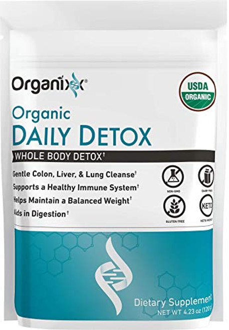 Organixx: Organic Daily Detox - Whole Body Detox Powder Supplement - 120g Pack - Vegan and Keto Blend with Matcha, Milk Thistle and More - for Detox and Immune Support - No GMO, Gluten, Soy or Dairy