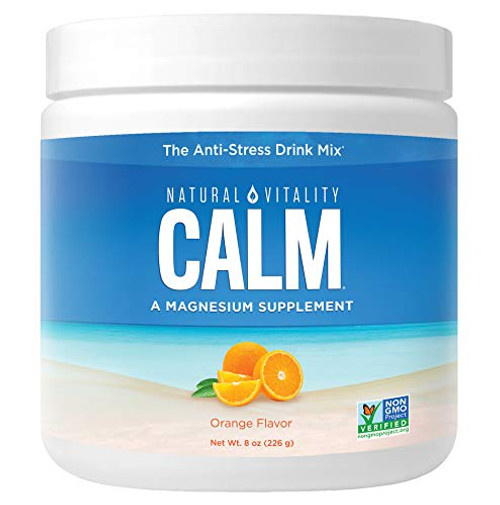 Natural Vitality Calm, Magnesium Citrate Supplement Powder, Anti-Stress Drink Mix, Orange, 8 Ounces
