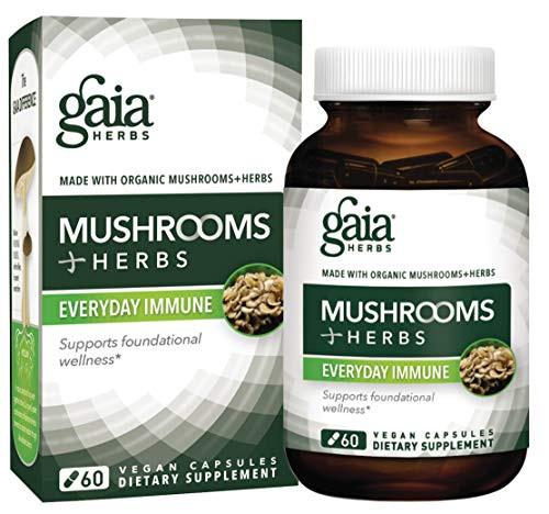 Gaia Herbs Mushrooms + Herbs Everyday Immune, Vegan Liquid Capsules, 60 Count - Immune and Daily Wellness Formula, Organic Reishi, Cordyceps, Turmeric, Astragalus