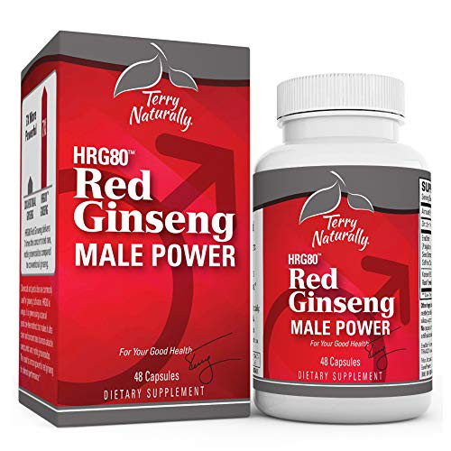Terry Naturally HRG80 Red Ginseng Male Power - 48 Capsules - Korean Red Ginseng Root Powder, Panax Ginseng - Boost Blood Flow for Improved Energy, Stamina, and Focus - Non-GMO, Vegan - 16 Servings