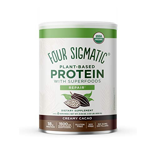 Four Sigmatic Creamy Cacao Superfood Protein, Organic Plant-Based Protein with Chaga Mushroom & Ashwagandha, Supports Immune Function & Muscle Repair,Blends Smoothly, 21.16 oz