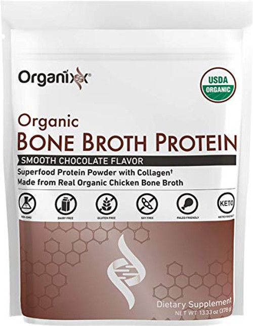 Organixx: Bone Broth Protein Smooth Chocolate - 1 Bag - Organic Superfood Protein Powder with Collagen for Soft Skin, Gut and Joint Health, Immune Support, and More - 20g Complete Protein per Serving