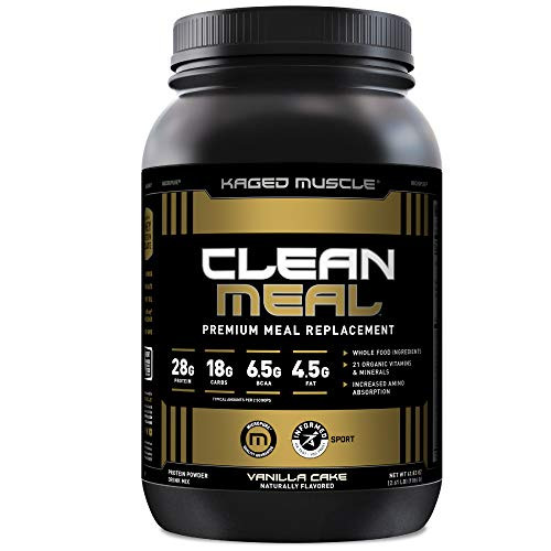 Kaged Muscle Clean Meal; Meal Replacement Shake with Whey Protein Isolate, Clean Carbs, MCT Oil Fats, Organic Vitamins and Minerals, Vanilla Cake, 20 Servings