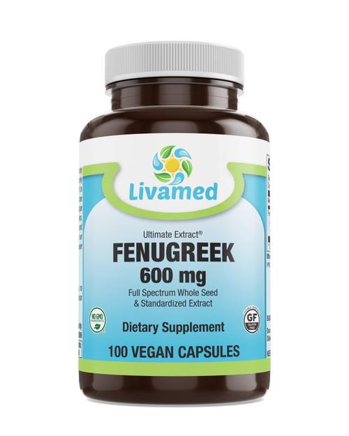 Livamed - Ultimate Extract Fenugreek 600mg Veg Caps 100 Count