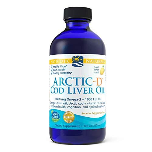 Nordic Naturals Arctic-D Cod Liver Oil, Lemon - 8 oz - 1060 mg Total Omega-3s + 1000 IU Vitamin D3 - EPA & DHA - Heart, Brain, Bone, Immune & Mood Support - Non-GMO - 48 Servings