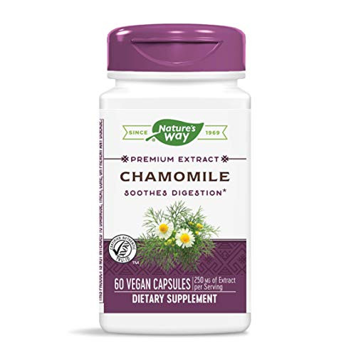 Nature's Way Chamomile Standardized 1.2% Apigenin, 250 mg per serving, 60 Vcaps (Packaging May Vary)