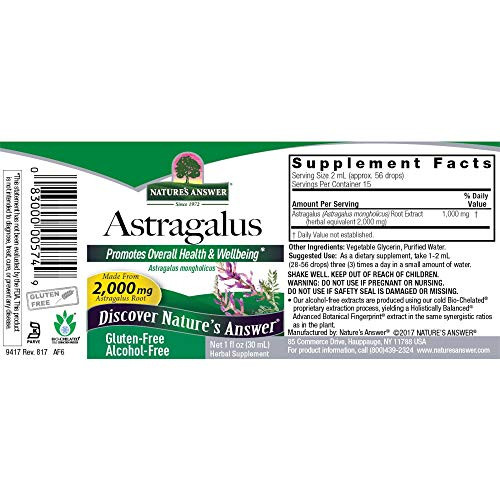 Nature's Answer Astragalus Root | Promotes Overall Health & Wellbeing | Super Concentrated 2000mg | Alcohol-Free, Gluten-Free, Kosher Certified & No Preservatives 1oz