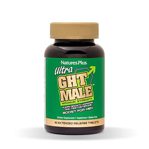 NaturesPlus Ultra GHT Male Extended Release Bilayer Tablets - 90 Vegetarian Supplements - Maximum Strength Natural Testosterone & Human Growth Hormone Boost- Gluten-Free - 30 Servings