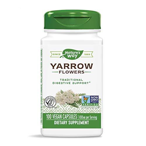 Nature's Way Premium Herbal Yarrow Flowers, 650 mg per serving, 100 Capsules (Packaging May Vary)