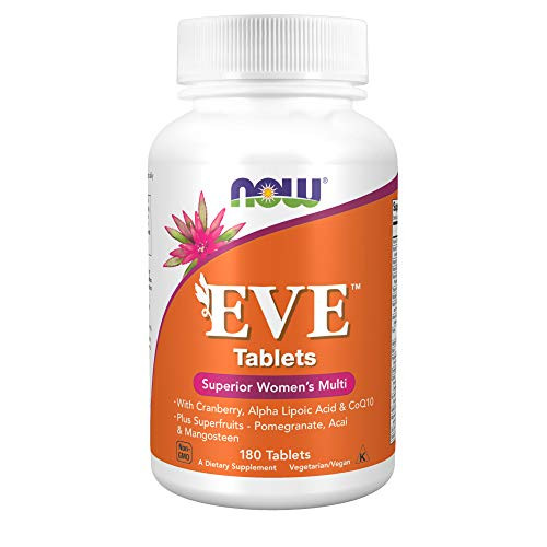 NOW Supplements, Eve Women's Multivitamin with Cranberry, Alpha Lipoic Acid and CoQ10, plus Superfruits - Pomegranate, Acai & Mangosteen, 180 Tablets