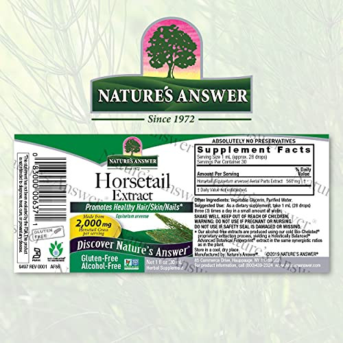 Nature's Answer Alcohol-Free Horsetail Herb Extract Supplement, 1-Fluid Ounce | Hair, Skin, & Nails Support | Promotes Urinary Tract Health | Strengthen Joints