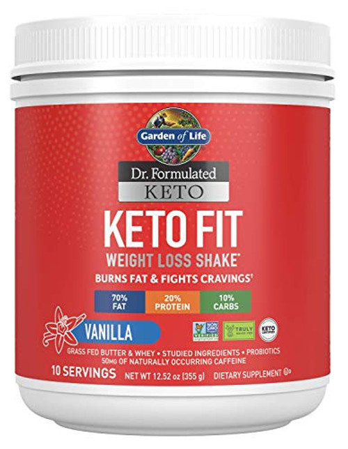 Garden of Life Dr. Formulated Keto Fit Weight Loss Shake - Vanilla Powder, 10 Servings, Truly Grass Fed Butter & Whey Protein, Studied Ingredients & Probiotics, Non-GMO, Gluten Free, Ketogenic, Paleo-1610403305