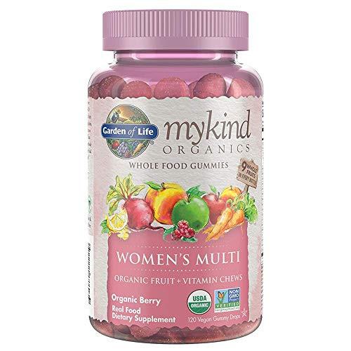 Garden of Life - Mykind Organics Women's Gummy Vitamins - Berry - Certified Organic, Non-GMO, Vegan, Kosher Complete Multi - Methyl B12, C & D3 - Gluten, Soy & Dairy Free - 120 Real Fruit Gummies-1610133172