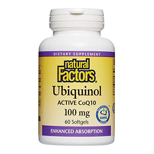 Natural Factors, Ubiquinol Active CoQ10 100mg, 60 Softgels, Coenzyme Q10 Supplement for Energy, Heart and Cognitive Support, 60 servings