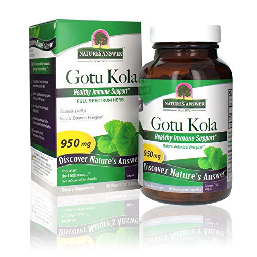 Nature's Answer Gotu-Kola Herb Capsules 90 Count   Promotes Longevity and Vitality   Supports Cognitive Function   Natural Energy Booster