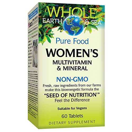 Whole Earth & Sea from Natural Factors, Women's Multivitamin & Mineral, Whole Food Supplement, Vegan and Gluten Free, 60 tablets (30 servings)