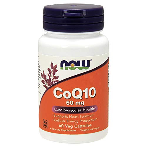 NOW Supplements, CoQ10 60 mg, Pharmaceutical Grade, All-Trans Form of CoQ10 Produced by Fermentation, 60 Veg Capsules